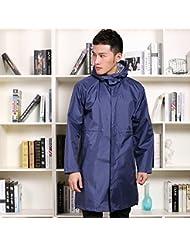 Manteau étanche pour hommes Imperméable long Adhésif pour vêtements respirant pour adultes Poncho mince (Noir / Bleu)