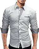 MERISH Camicia Uomo Slim Fit maniche lunghe Design moderno Modell 02 Bianco XL
