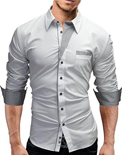 Merish camicia di jeans da uomo, Slim Fit, 3 colori, attillata, per il tempo libero, a maniche lunghe, Taglia S XXL Modell 46