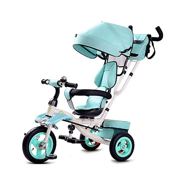GSDZSY - Foldable Children Tricycle Baby Stroller 4 In1, With Removable Push Handle Bar And Awning, Non-inflatable Rubber Wheel,Safe And Reliable,1-6 Years,B GSDZSY  1