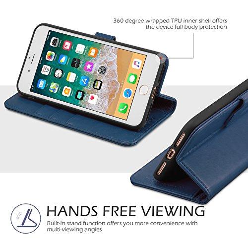 Custodia iPhone 8 Plus, Custodia iPhone 7 Plus, TUCCH Cover in Pelle con Interno TPU Antiurto [GARANZIA DI VITA], Supporto Stand, Carta Fessura e Flip Wallet Case per Apple iPhone 8 Plus/7 Plus - Nero Blu