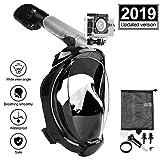 Eastshining Masque de Plongée Masque Snorkeling Plein Visage 180° Visible Anti-buée Anti-Fuite Set de Plongée avec La Support pour Caméra GoPro de Sport Adapté pour Adultes et Enfants - Noir L/XL