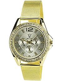 BELLOS -Damen Armbanduhr Silber Quarz Stahlgehäuse Analog Anzeige Stahl Armband Gold