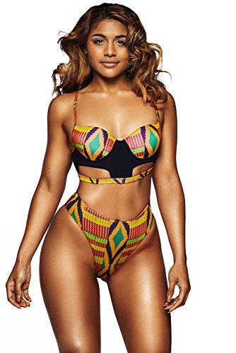 Nuovo da donna multi colore diamante stampa vita alta capacità di taglio gamba bikini Swimwear Beachwear estate taglia M UK 10EU 38