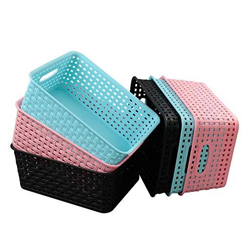Ordate Korb Plastikkorb Haushaltskorb Körbchen Aufbewahrungskörbe Plastik Kunststoff, Schwarz Rosa Blau, 6 Stück