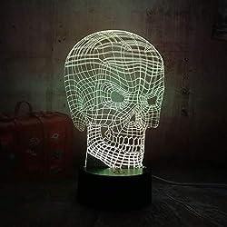 ZBDYD Nuevo Cool 3D Skull Head Illusion Usb Rgb Led Luz De La Noche Lámpara De Escritorio Remoto De Iluminación Para Halloween Bar Decoraciones Regalo Para Niños