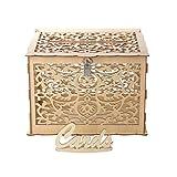 Amosfun Hochzeitskartenbox aus Holz mit Schlitz und Schlitz für Schlüssel, Gummiring, perfekt für Hochzeiten, Babyparty, Geburtstag, Abschlussfeier