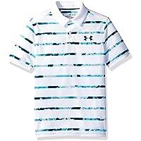 Under Armour Threadborne Camisa Polo de Golf, Bebé-Niños, White/Techno Teal (102), YLG