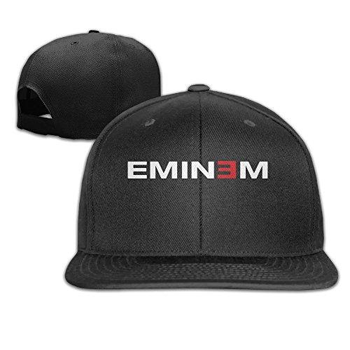 Hittings Eminem Logo Snapback Adjustable Flat Baseball Cap/Hat Black