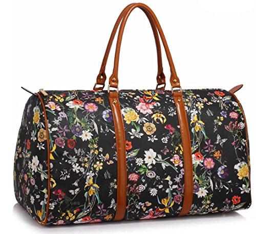 LeahWard® Damen Herren Blumen Wochenende Groß Reisetasche Handgepäck Handtaschen Übermaß Taschen 479 (Weiß Blumen Wochenende Groß Reisetasche) Schwarz Blumen Wochenende Groß Reisetasche