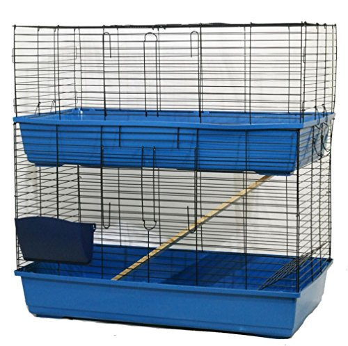 Kaninchen Meerschweinchen Käfig Stall für Innenbereich–80cm/100cm/120cm–Heuraufe & Wasser Flasche, Red&1x Hay Rack (Colours may vary), 100cm (L) x 52cm (D) x 100cm (... (Stroller Bar Toy)