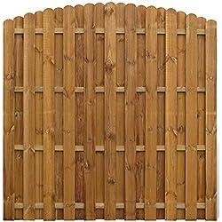 vidaXL Panneau de Clôture Arqué en Bois Planches Intercalées Jardin Terrasse