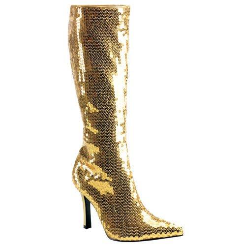 Stiefel mit Pailletten, gold, Größe 10 US = 40 (Stiefel Gold Pailletten)