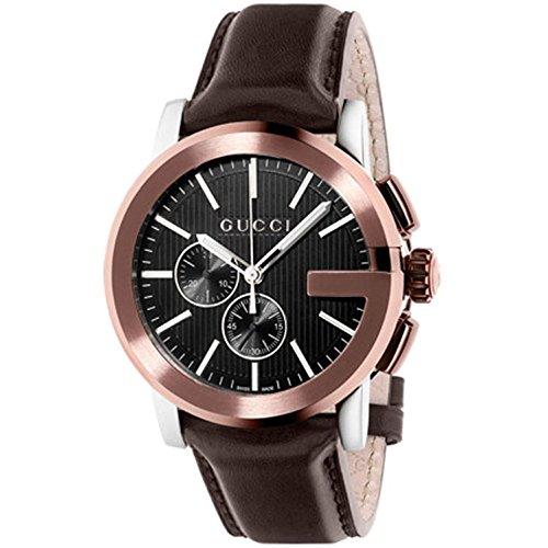 Gucci Men's 43mm Brown Leather Band Steel Case Quartz Analog Watch YA101202