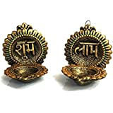 Handmade Home Decorative Terracotta Shubh Labh Wall Hanging Diya Set Of 2 Antique Finish