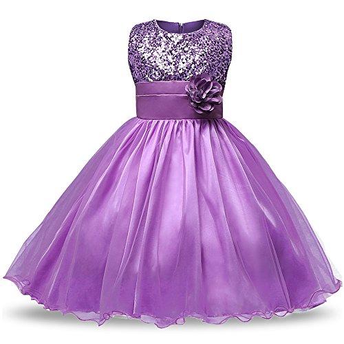 J Dress Fancy Kostüm Für - XFentech Baby Mädchen Ärmellos Fancy Kostüm Kleid Blume Rock Sommer Sequins Kleider Kleinkinder Prinzessin , Violett