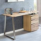 FineBuy Schreibtisch FRONA 150x67x76 cm Eiche Massivholz Tischplatte Nierenförmig | Bürotisch mit Schubladen Modern | Computertisch Massiv | Nierentisch Holz