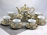 """ELIH Porzellan - Servizio da tè/caffè in porcellana""""serie oro"""", 17 pezzi"""
