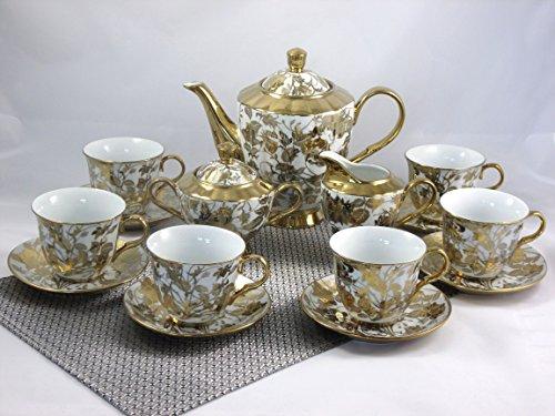 ELIH 17-tlg Porzellan Teeservice Kaffeeservice Goldserie