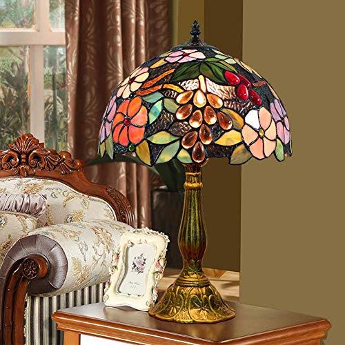 SXFYWYL Tiffany Stil Tischlampe Pastoral Grape Vintage Glasmalerei Tischleuchte Nachttischlampe -