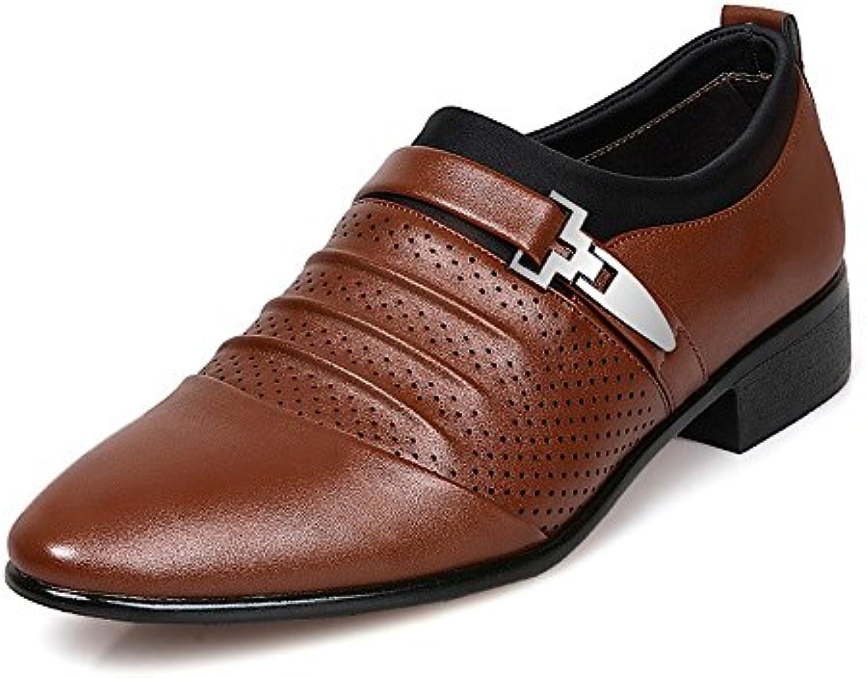 Lederschuhe Herren Business Schuhe Glatt PU Leder Splice Oberen Slip on Mesh Oxfords (Color : Braun  Größe : 41