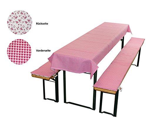 MERINO BETTEN Bierbankauflage & Tischdecke im 3 TLG. Set, Biertischauflagen-Set für Alle gängigen Bierzeltgarnituren (Weitere verfügbar) (70 x 130 cm, Pink)
