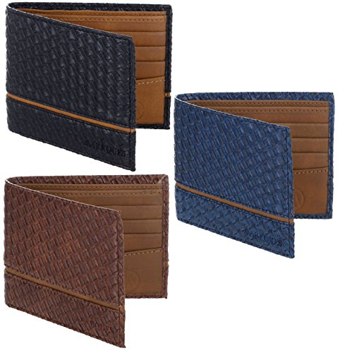 MarkQues Titan Men's Black,Brown & Blue Leather Wallet Combo (TT-Set-3-125)  available at amazon for Rs.799