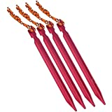WAJUMO Tent Pegs With Tie Rope | 4 Nos | Red | Aluminium Alloy Tent Pins | Camping Accessories