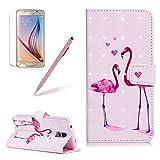 Für Galaxy S5 Hülle Leder, Girlyard 3D Gemalte Pink Flamingo Muster Entwurf Schutzhülle Tasche PU + TPU Silikon Innere Cover Wallet Flip Case Bookstyle Standfunktion Kartenfächer Magnet Handyhülle für Samsung Galaxy S5/ S5 Neo