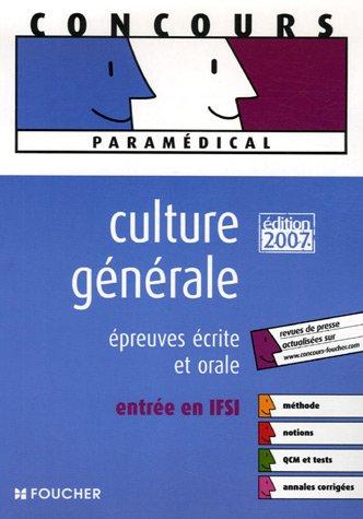 Culture générale : Epreuves écrite et orale entrée en IFSI