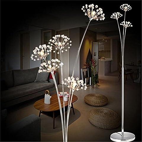 WQRTT® Crystal Floor Lamp Modern Crystal Floor Light For Living Room Bedside LED Flower Stand Lamp Chrome finished Floor Lights , 3