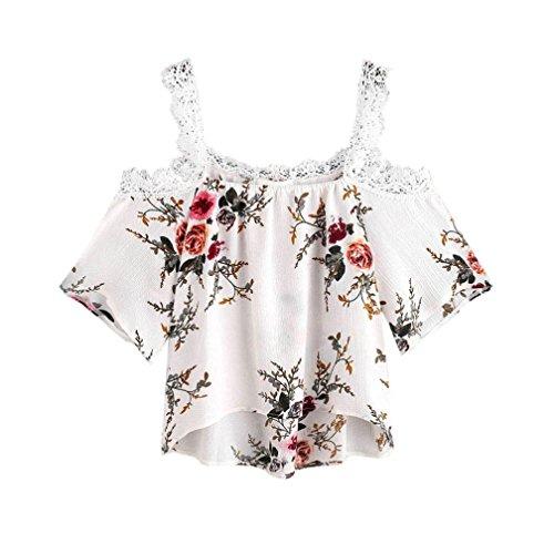 FORH Frauen Short Sleeve weg vom Schulter-Spitze-Blumen Blusen-beiläufige Oberseiten -T-Shirt (L) (Short Sleeve Ringer Mädchen)