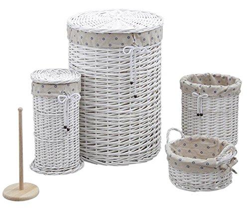 Panier à linge avec corbeilles en éclisse laquée blanche -PEGANE-