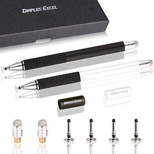 Dimples Excel Präzision Stylus pen Eingabestifte for Ipad Pro Kindle Tablet Touchscreen Smartphone mit Ersatzspitzen (Schwarz + Silber) (Mini Tip Ipad Fine 3 Stylus)