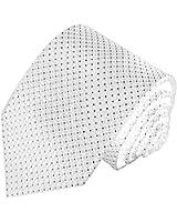 LORENZO CANA - Designer Marken Krawatte aus 100% Seide gewebt , Schlips weiss kleine schwarze Punkte - 84577