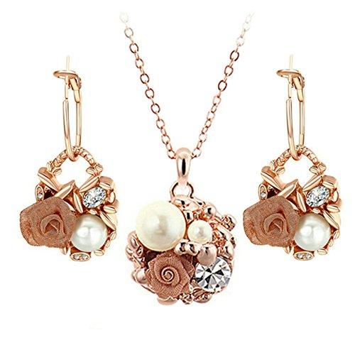 Yoursfs conjunto de joyas de flor, collar y pendientes chapado en oro, para las fiestas