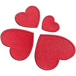 10pz cuore ricamo distintivo patch Sew Iron On Home borsa cappello vestito applique, Red, m