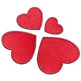 10x Stickerei-Herzen, Nähen, zum Aufbügeln, Zuhause, Flicken, Abzeichen, Tasche, Hut, Kleid, Anwendung, rot, 4 size