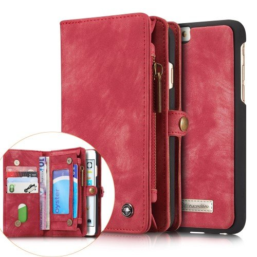 Flip Case Handy-Hülle zu Apple iPhone 6 / 6s - WALLET BOOK EINFARBIG SPALT-LEDER - Handy-Tasche, Schutz-Hülle, Cover, Handyhülle, Bookstyle, Booklet, Geldbörse, Geldbeutel, Farbe:Türkis Deep Pink