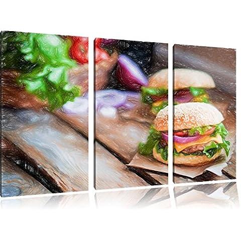 immagine Tasty Burger Bunstift Effect 3 PC immagine su tela 120x80 su tela, XXL enormi immagini completamente Pagina con la barella, stampe d'arte sul murale cornice gänstiger come la pittura o un dipinto ad olio, non un manifesto o un banner,