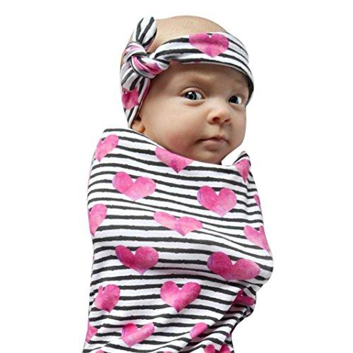 URSING Neugeborenes Kind Baby Blumen Drucken Sleeping Swaddle Blanket Schlafen Musselin Wrap Stirnband Set Erstlingsdecke Babydecke Kuscheldecke Strickdecke Sommerdecke,0-12 Monate (Rot) -