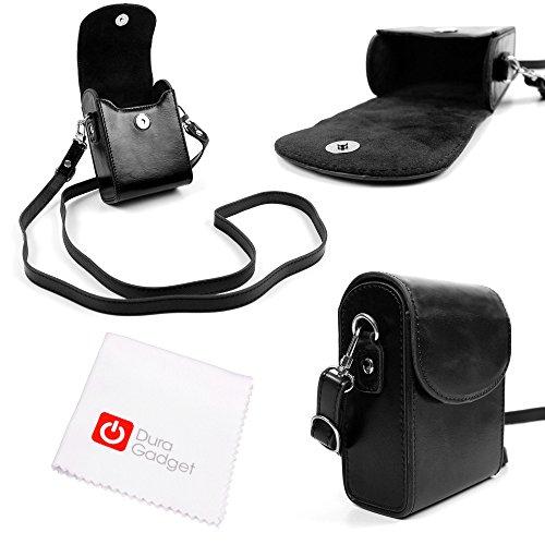 DuraGadget Kamera-Tasche mit Gurt für Nikon Coolpix A900 / Nikon Coolpix L31 / S33 Digitalkameras (SCHWARZ MIT Tuch) (Nikon-gurt-clip)