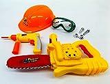 Brigamo 505 - Kinderwerkzeug Set mit funktionierender Kettensäge und Bohrhammer + Bauarbeiter Helm