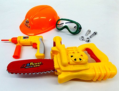 Brigamo 505 - Kinderwerkzeug Set mit funktionierender Kettensäge und Bohrhammer + Bauarbeiter Helm thumbnail