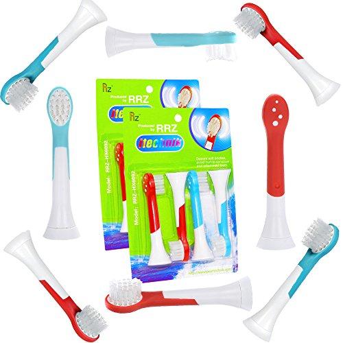 Kids Aufsteckbürsten für Philips Sonicare Kind HX6034/33 Ersatzbürsten, ab 4 Jahren, weiche Borsten für eine behutsame Reinigung, 8er Pack, 4er türkis, 4 Rot