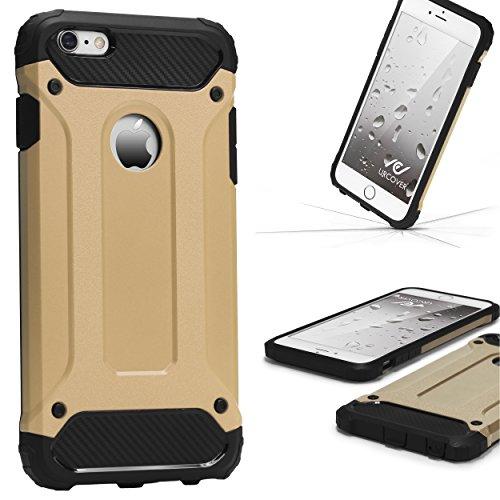 URCOVER Steel Series Custodia Outdoor Ibrida Apple iPhone 6 / 6s | Back Case Rigida in Argento Bumper Antishock | Armor Cover Protettiva in Due Parti Oro
