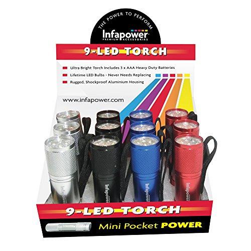 Infapower F006 Lot de 12 mini lampes de poche 9LED