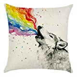 Blue Vessel Regenbogen Baumwoll Leinen Kissenbezug Sofa Throw Kissenbezug Home Decor (Wolf)