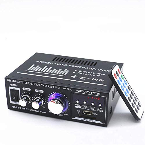Docooler 12V/ 220V Mini 2CH LCD Display HiFi Audio Stereo Leistungsverstärker BT FM Radio Tragbare Auto Home 400 Watt Fernbedienung Audio Verstärker (Stereo-subwoofer Home)