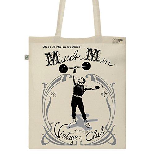 Tote Bag Imprimé Ecru - Toile en coton bio - Musculation vintage